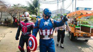Sosok Captain Amerika Turun ke Jalan Berikan Himbauan 3M kepada Warga Muara Angke
