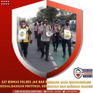 Sat Binmas Polres Metro Jakbar bersama Anggota Pramuka Sosialisasi Prokes Cegah Covid-19